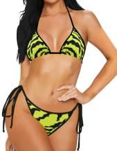 MILANKERR 2Pcs Bikini Set Swimsuits for Women Straps Bathing Suits Halter Top Scrunch Butt Bikini Bottom