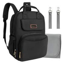 Diaper Bag Backpack Black Travel Nursing Nappy Bags for Dad Mom (No USB Port)