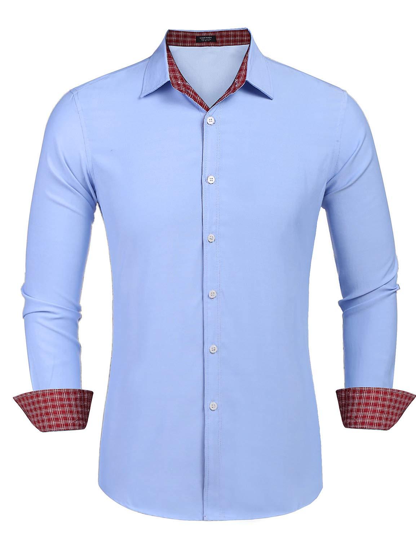 COOFANDY Long Sleeve Shirt Mens Dress Shirts Slim Fit Button Down Shirts Red Plaid Blue XXL