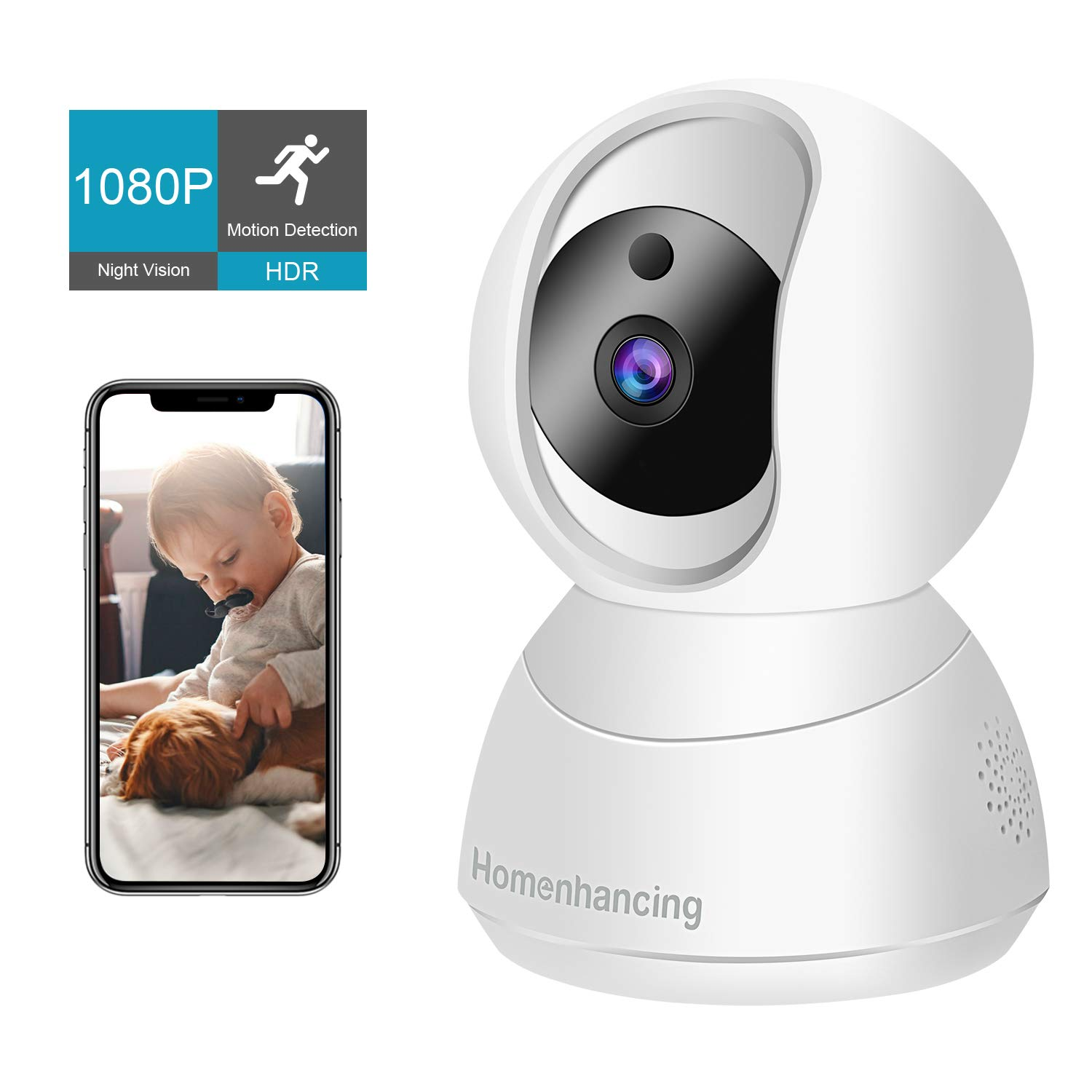 1080P Wireless Dog Camera Home, Indoor Nanny Cam FHD, Security Wi-Fi Camera and Motion Tracking/Detection, Dome Camera Night Vision, IP Camera Pan/Tilt/Zoom, Cloud Storage/Micro SD Card, iOS/Android