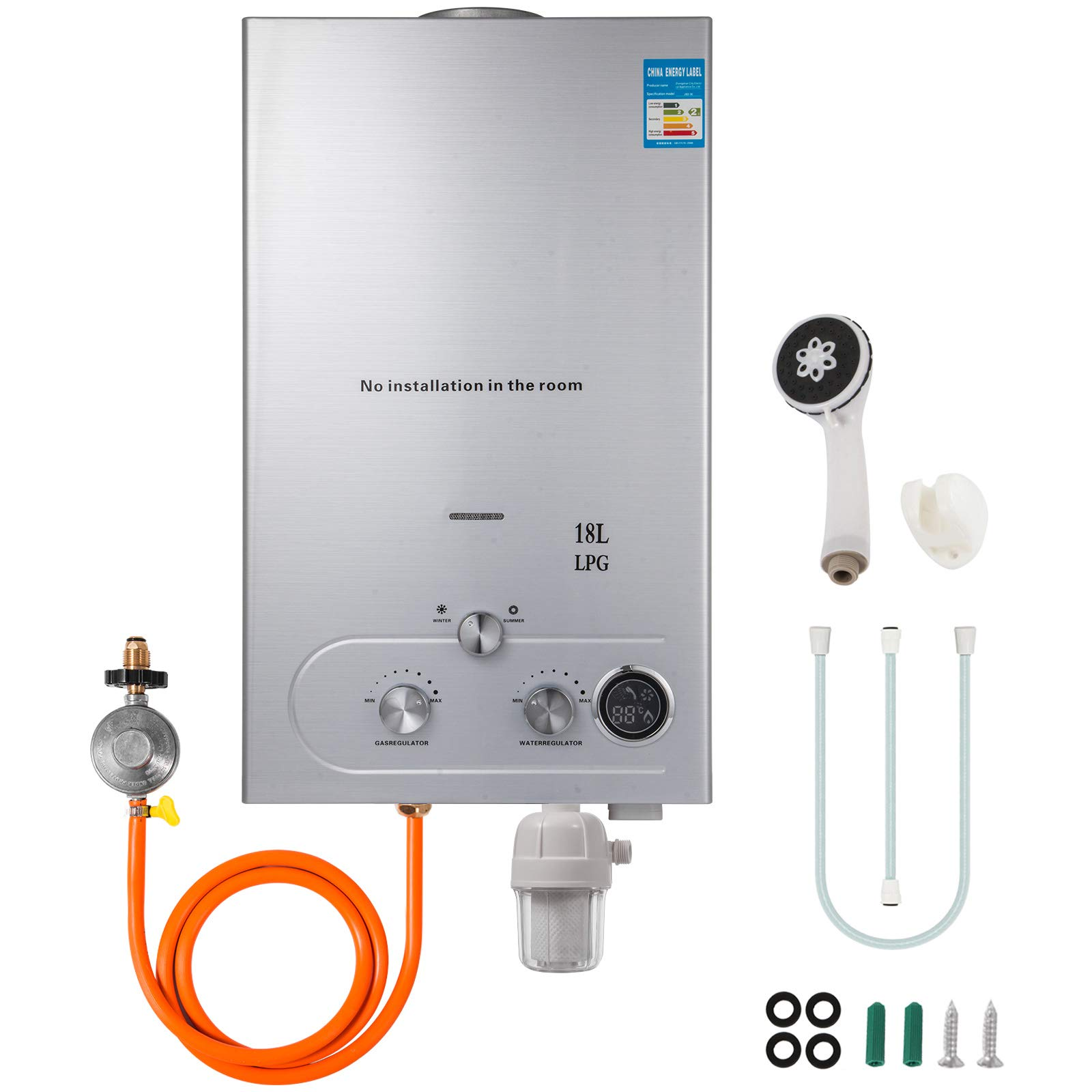 Happybuy Propane Hot Water Heater 18l Tankless Propane Water Heater 4 8gpm Propane Tankless Water Heater 36kw Upgrade Type With Shower Head Kit And Water Filter And Gas Regulator