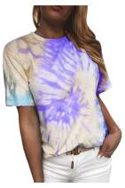 LaSuiveur Women's Tie Dye Short Sleeve Crewneck T-Shirt Tops Tees