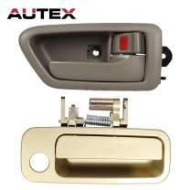 AUTEX Door Handles 2pcs Gold Exterior Beige Interior Front Rear Right Passenger Side Compatible with Toyota Camry 1997 1998 1999 2000 2001 Door Handles 91005 91008 69210-AA010 79427 TO1521122