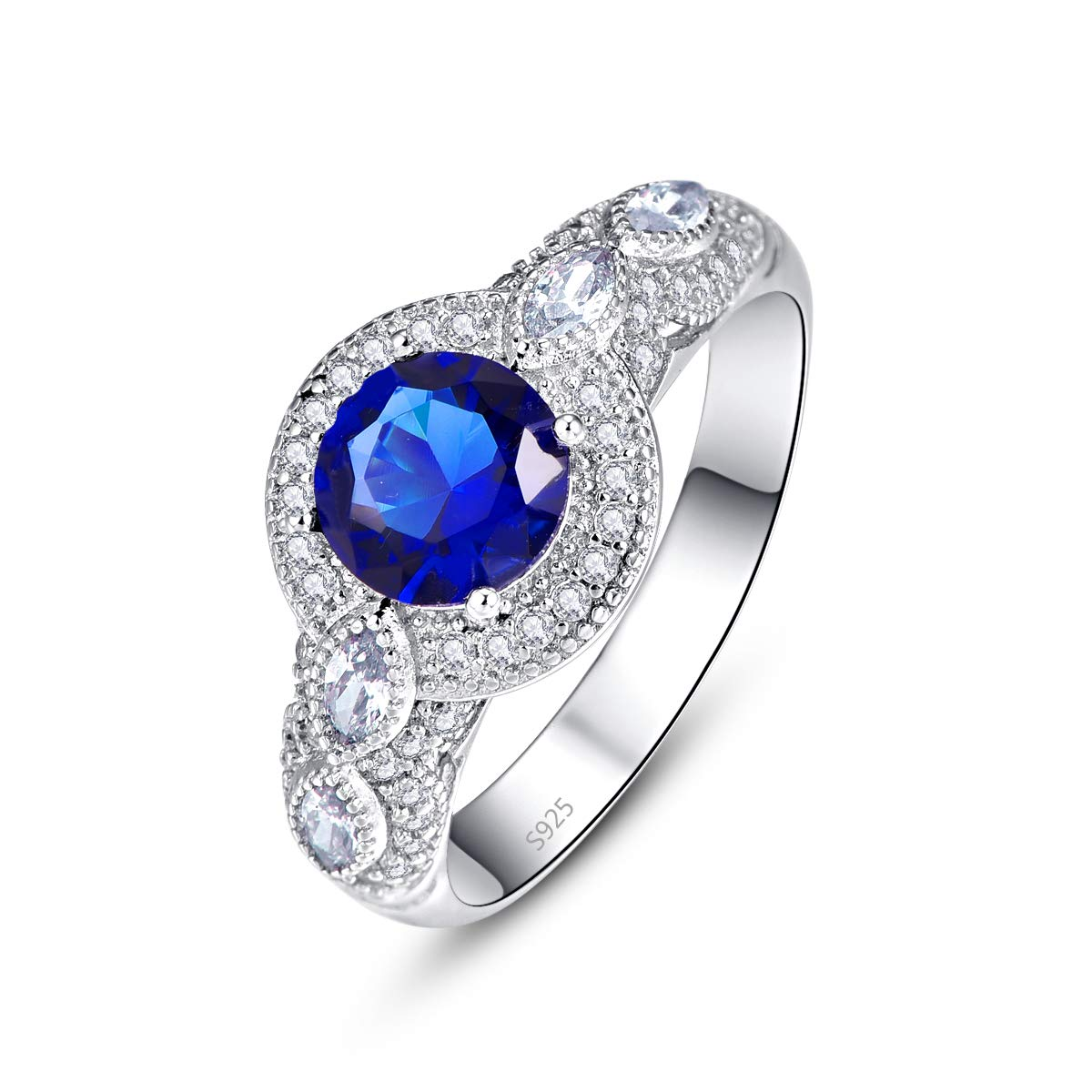 Momius 925 Sterling Silver Created Created Sapphire Quartz Brilliant Round Cut Halo with Marquise Cut CZ Band Ring for Girls Women