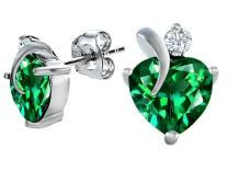 Star K Sterling Silver Love Heart Earrings with 7mm Heart Shape Stone