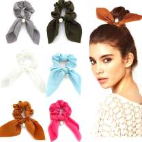 Unicra Ribbon Hair Scrunchies Pearl Elastics Hair Ties Set Fashion Bow Silk Hair Accessories for Women and Girls 6PCS