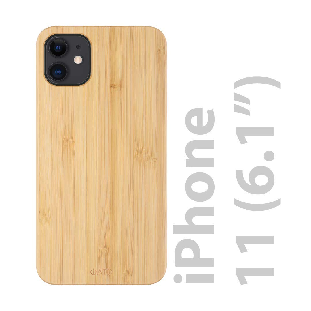 """iATO iPhone 11 Wood Case. Real Bamboo Wood iPhone 11 Case Wood. Minimalistic Classic Wood Case for iPhone 11 6.1"""" {New 2019} Supports Wireless Charging – Natural Wooden & Black Polycarbonate Bumper"""