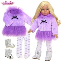 Sophia's Purple Doll Clothes Set for 18 in Doll Plus Doll Shoes| Lavender Fur Dress Coat, Heart Stockings and Silver Sequin Boots for Dolls