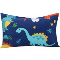 """UOMNY Kids Toddler Pillow with 100% Cotton Pillowcase,13""""x18"""" Machine Washable Pillow Cover,Baby Pillows for Sleeping,Kids Pillow for Travel,Kids Bedding,Bed Set(1 Pillow+1 Dinosaur Pillowcase)"""