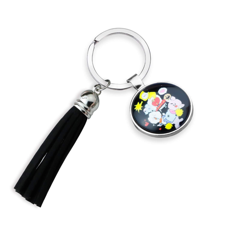 G-Ahora BTS Keychain BTS Cartoon Acrylic Keychain Bangtan Boys Key Ring Hot Gift for Army Tassels Jewelry Seven Cartoon Characters Keychain (BTS Cartoon KR)