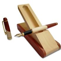 Best Wooden Fine Fountain Pen with Display Case, Nice Ink Pen Gift Set with Wood Single Pen Holder