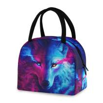 ZZKKO Animal Galaxy Wolf Lunch Bag Box Tote Organizer Lunch Container Insulated Zipper Meal Prep Cooler Handbag For Women Men Home School Office Outdoor Use