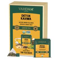 VAHDAM ORGANIC Detox Kahwa Green Tea (100 Tea Bags) | Detox Tea | Detox Green Tea Bags | High Grown Green Tea + Ginger + Tulsi + Cloves + Cumin | 100% Natural Ingredients | Pyramid Green Tea Bags