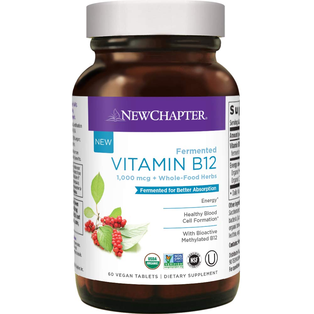 New Chapter Vitamin B12, Fermented Vitamin B12 1, 000 Mcg, One Daily with Whole-Food Herbs + Adaptogenic maca for Natural Energy + Healthy Blood Cells, 100% Vegetarian, 60 ct