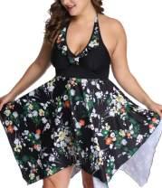 Vanbuy Womens Two Piece Swimwear Floral Print Flowy Tankini Swimdress Plus Size Swimsuit