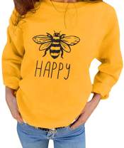 ASTANFY Women's Happy Tee Shirt Bee Graphic Print T Shirt Crew Neck Long Sleeve Casual Tops Tee Blouse