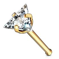 MoBody 20G Triangle CZ Top Nose Bone Stud Ring 316L Surgical Steel Assorted Color Cubic Zirconia Nose Piercing