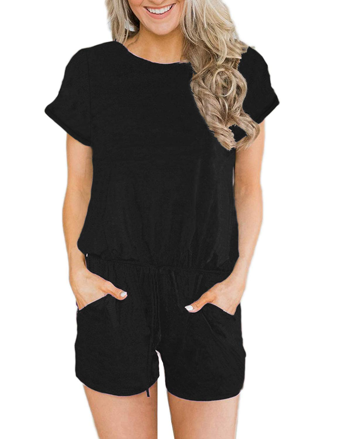 Angerella Women's Summer Short Sleeve Casual Rompers with Pockets Loose Fit