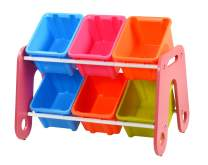 livinbox Storage Organizer Toy Tower Toddler's Toy with 6 Multiple Color Bins Shelf Drawer,MN-HA06,Pink Rack