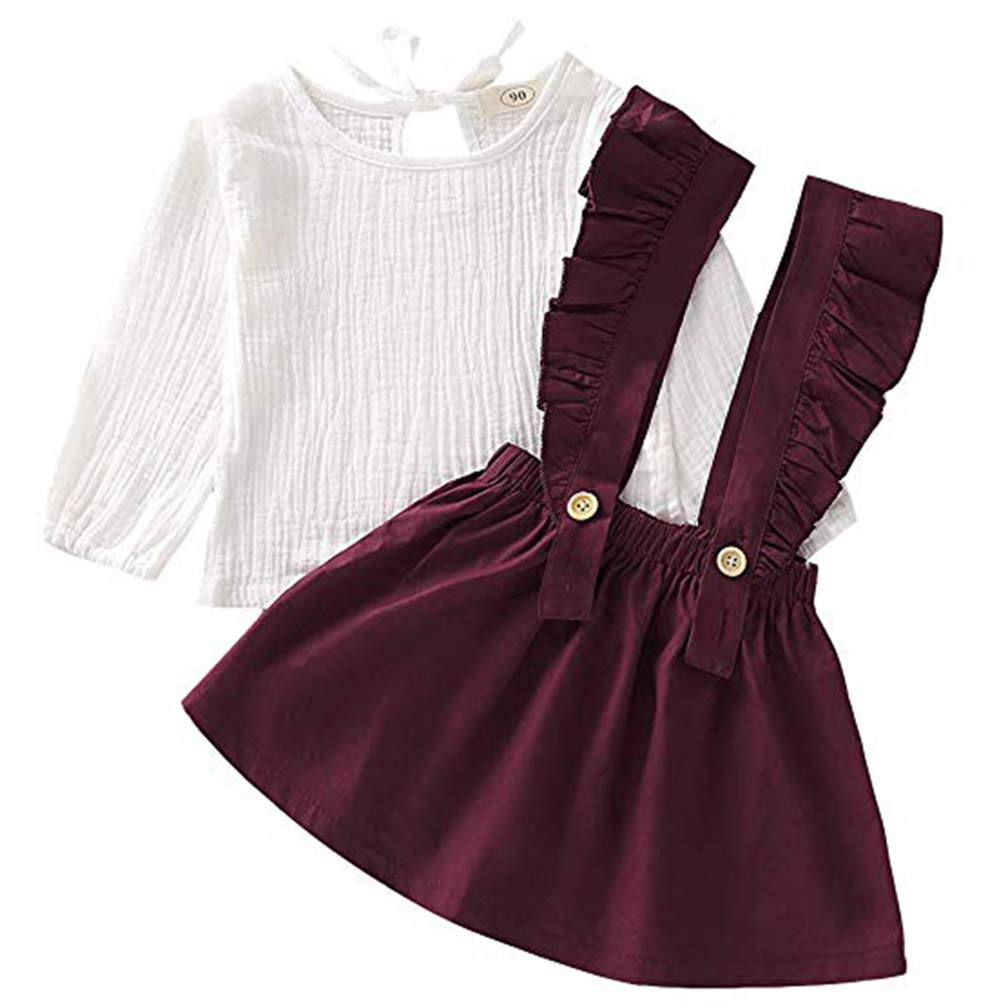 Toddler Baby Girls Skirt Outfits Long Sleeve Tops+Ruffle Strap Dress Clothes Set