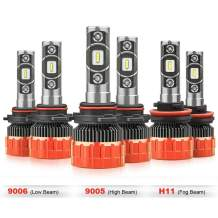 MOSTPLUS 8000 Lumens 80W/Pair-9005+H11+9006 All-in-One LED-TX1860 Chip Really Focused Headlight Bulbs Super Mini Conversion Kit Xenon White (3 Pairs)
