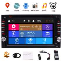 Double Din Car Stereo GPS Navigation for Car 6.2 Inch Touch Screen Car DVD Player with Map Card Bluetooth in Dash Head Unit 2 Din Car Radio Receiver Support SWC Rear Camera Input AM FM RDS Radio 3 UIs