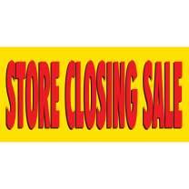 HALF PRICE BANNERS | Store Closing Sale Vinyl Banner -Indoor/Outdoor 3X6 Foot -Yellow | Includes Zip Ties | Easy Hang Sign-Made in USA