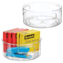 mDesign Deep Plastic Spinning Lazy Susan Turntable Storage Container for Desktop, Drawer, Closet - Rotating Organizer for Home Office Supplies, Erasers, Colored Pencils, 2 Pack - Clear