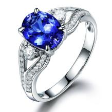 Fantastic Solid 14K White Gold Engagement Wedding Ring 6x8mm Oval Tanzanite Natural Diamond For Women