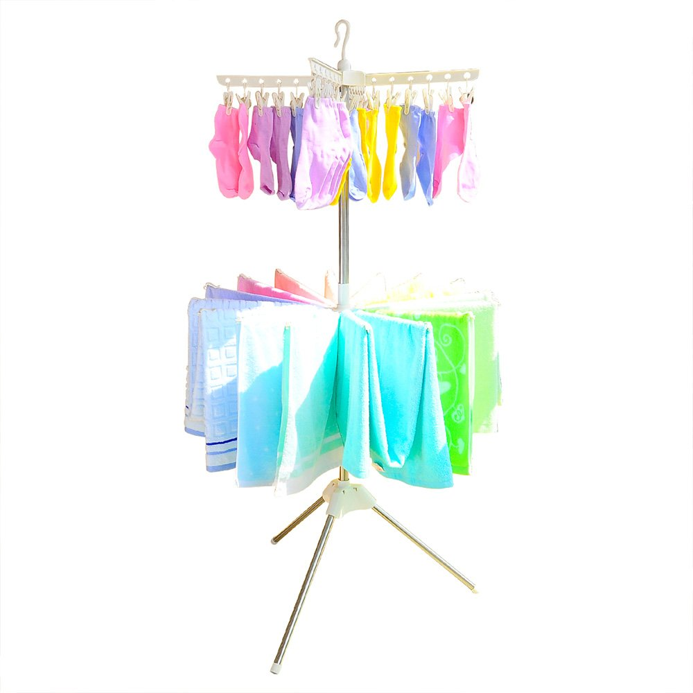 BAOYOUNI Foldable Clothes Drying Rack 2-Tier Indoor Outdoor Space Saving Stand Hanger with 24 Clips and 16 Towels Bars for Baby Clothes, Cloth Diapers, Socks, Bras, Towels, Underwear (Ivory)