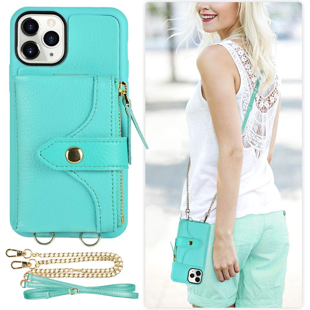 LAMEEKU iPhone 11 Pro Wallet Case, Zipper Wallet Case with Card Holder Purse Case Crossbody Chain Wrist Strap Protective Case Compatible with iPhone 11 Pro, 5.8 Inch-Mint Green