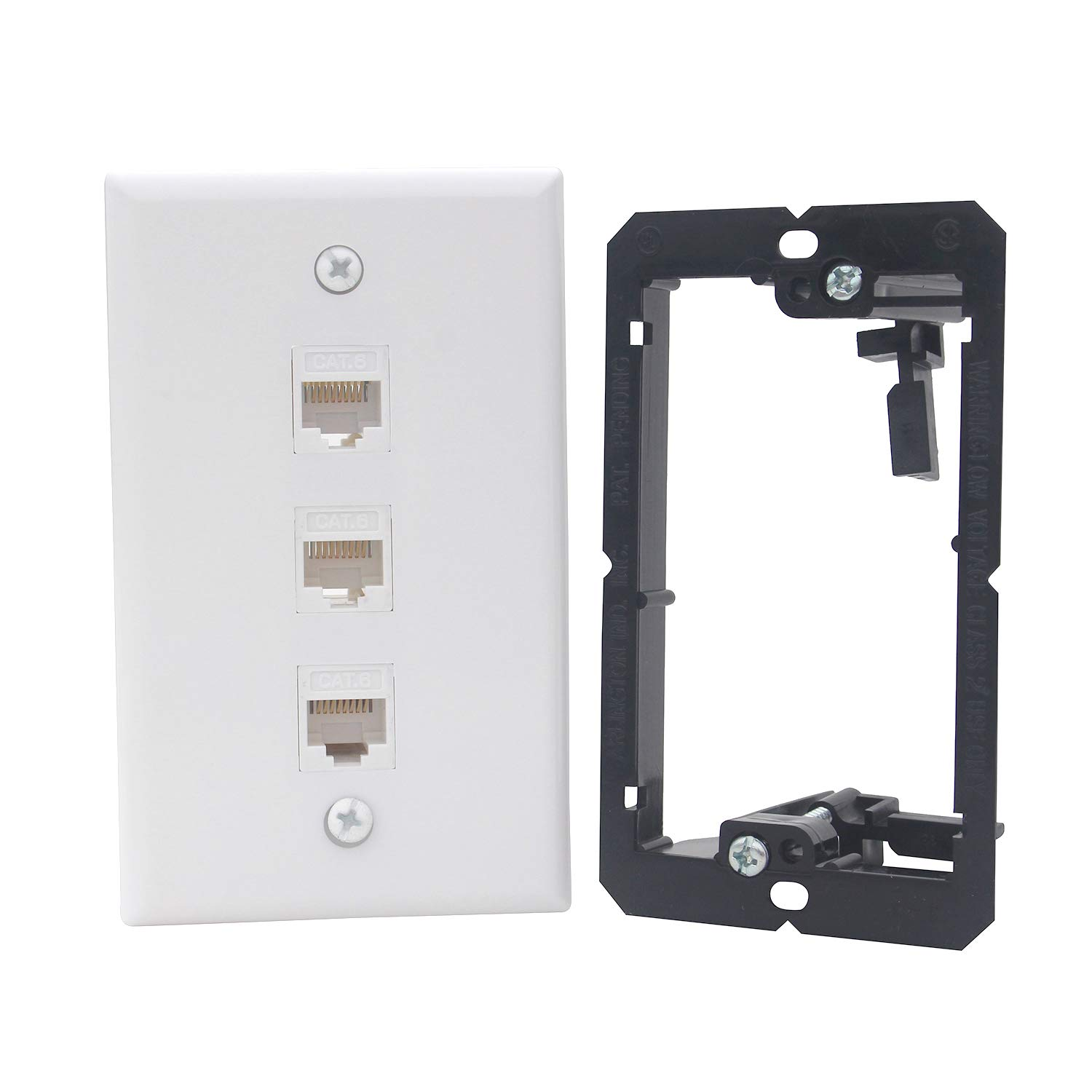 KCC Industries 3-Port Cat6 Ethernet Cable Wall Plate | Female-Female with Mounting Bracket +UL/CSA Listed Safe+