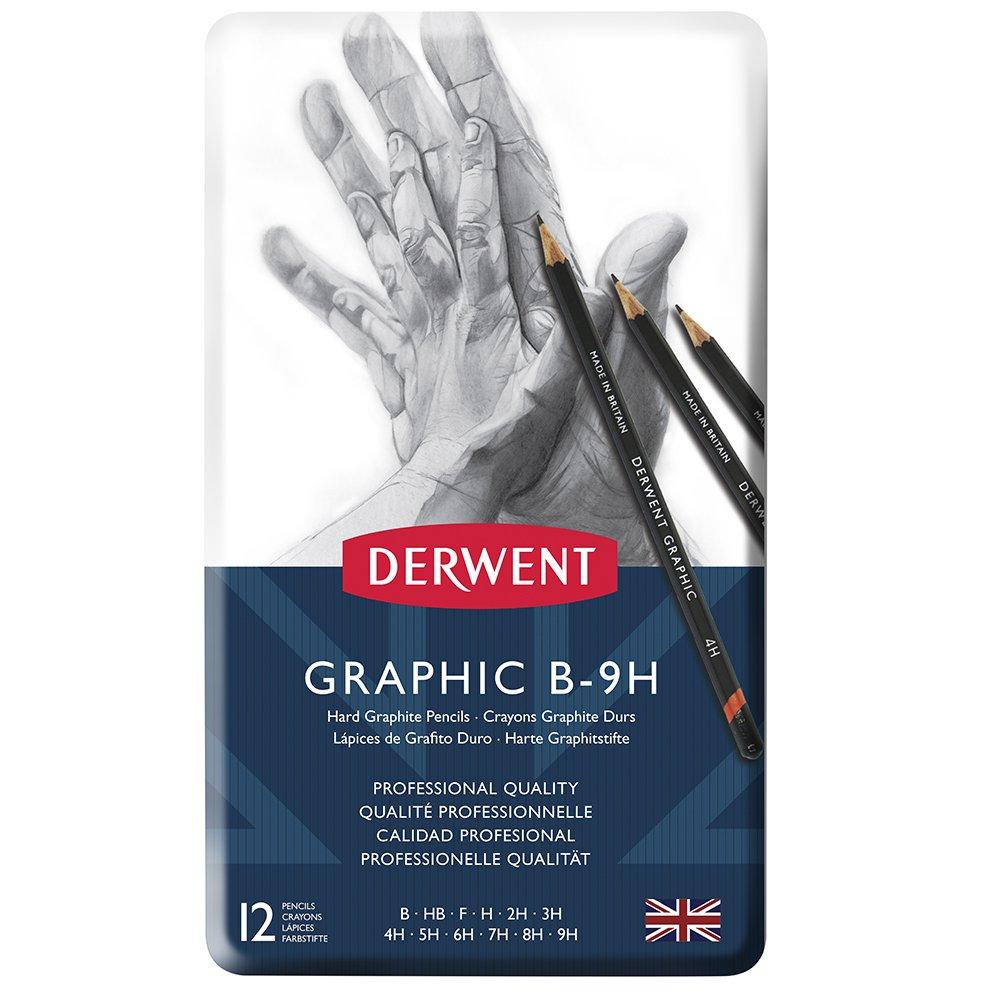 Derwent Graphic Pencils, Hard, Metal Tin, 12 Count (34213)