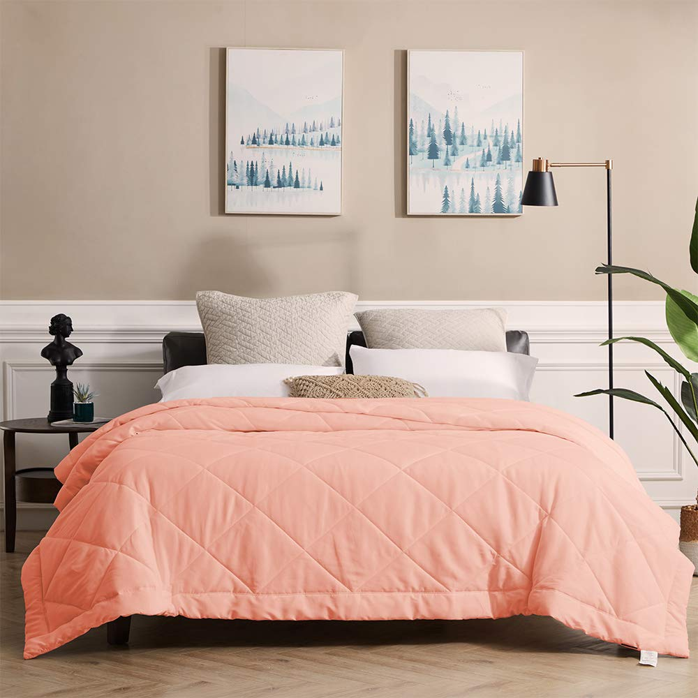 SunStyle Home Bed Quilt Twin Size Bedspread, Lightweight Thin Comforter for Summer and Spring, Soft Cozy Quilted Blanket Bedding (66''x86'', Blush Pink)