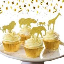 30 Pcs JeVenis Gold Glitter Jungle Safari Animal Cupcake Toppers Jungle Animals Cake Decorations for Jungle safari Animals Party Baby Showers Birthday Party