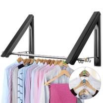 LIVEHITOP Wall Mounted Drying Rack, 2 Pcs Folding Clothes Hanger Coat Hanging Rail with Rod Hooks for Bathroom Balcony Wardrobe Motorhome (Black, Rod)
