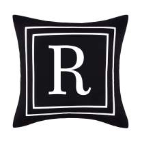 Yastouay Pillow Covers English Alphabet R Throw Pillow Cover Black Throw Pillow Case Modern Cushion Cover for Sofa Bedroom Chair Couch Car (Black, 18 x 18 Inch)