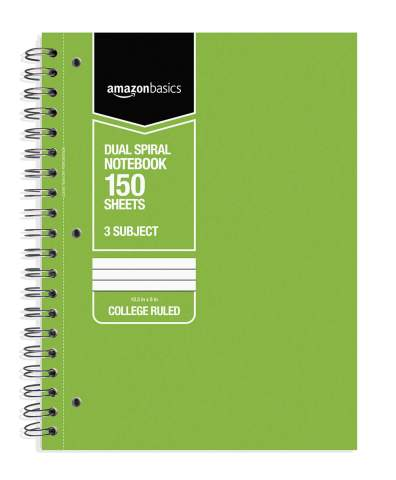 AmazonBasics College Ruled Wirebound 3-Subject 150-Sheet Notebook - Pack of 3, 10.5 x 8 Inch, Grey / Green / Blue