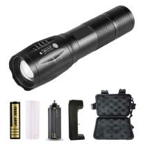 Tactical Flashlight, Teetox 1000 Lumen 18650 Battery & Charger, Waterproof LED Flashlight with 5 Light Modes Portable Torch Suit