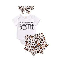 3PCS Baby Girl Summer Shorts Set Knitted Sleeveless Romper Top Leopard Ruffled Shorts Pants Headband Outfit Set