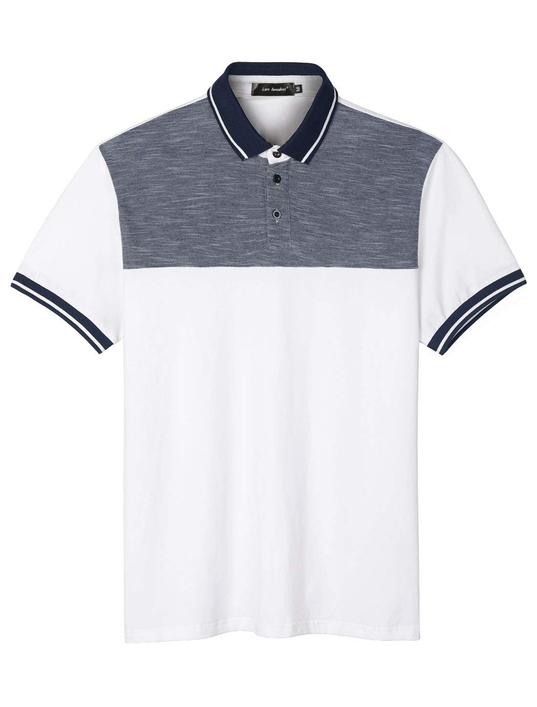 Lars Amadeus Men's Color Block Polo Shirt Summer Short Sleeves Panel Cotton Golf Shirts