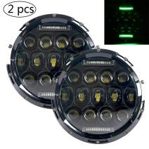 HOZAN 7 Inch 75W Green DRL Black LED Headlight for Hummer H2 Jeep TJ LJ CJ Wrangler JK & JK Unlimited Rubicon Sahara