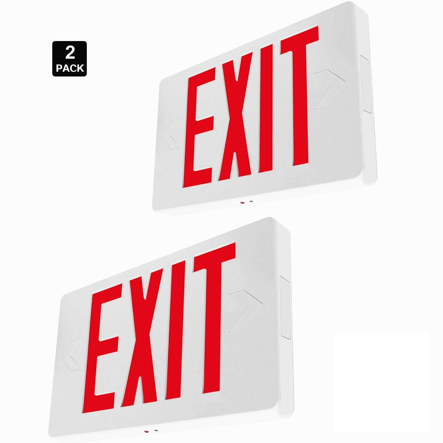 YeuLoum LED Exit Sign, Red Letter Emergency Exit Lights, 120V-277V Universal Mounting Double Face with Battery Backup, UL-Listed for Apartments, Hotels, Schools (2 Pack)