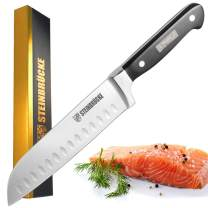 STEINBRÜCKE Santoku Knife, 7 inch Kitchen Knife Forged from German Stainless Steel 5Cr15Mov(HRC58), Full Tang, Razor Sharp Blade with Hollow Edge for Slicing, Dicing&Chopping