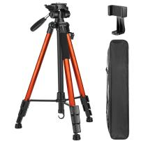 VICTIV 72 inch Camera Tripod, Aluminum Lightweight Travel Tripod for DSLR with Phone Holder and Extra Quick Release Plate Plus 3-Way Pan Head Compatible with iPhone/Android Phone (T70-Orange)