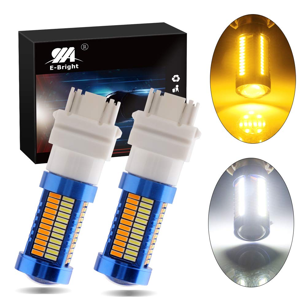 EverBright 3157 Switchback Led White/Amber Yellow 3457 4157 3156 3157A 3057 Bulbs for Turn Signal Light, 3014 Chipset 108SMD, Pack of 2