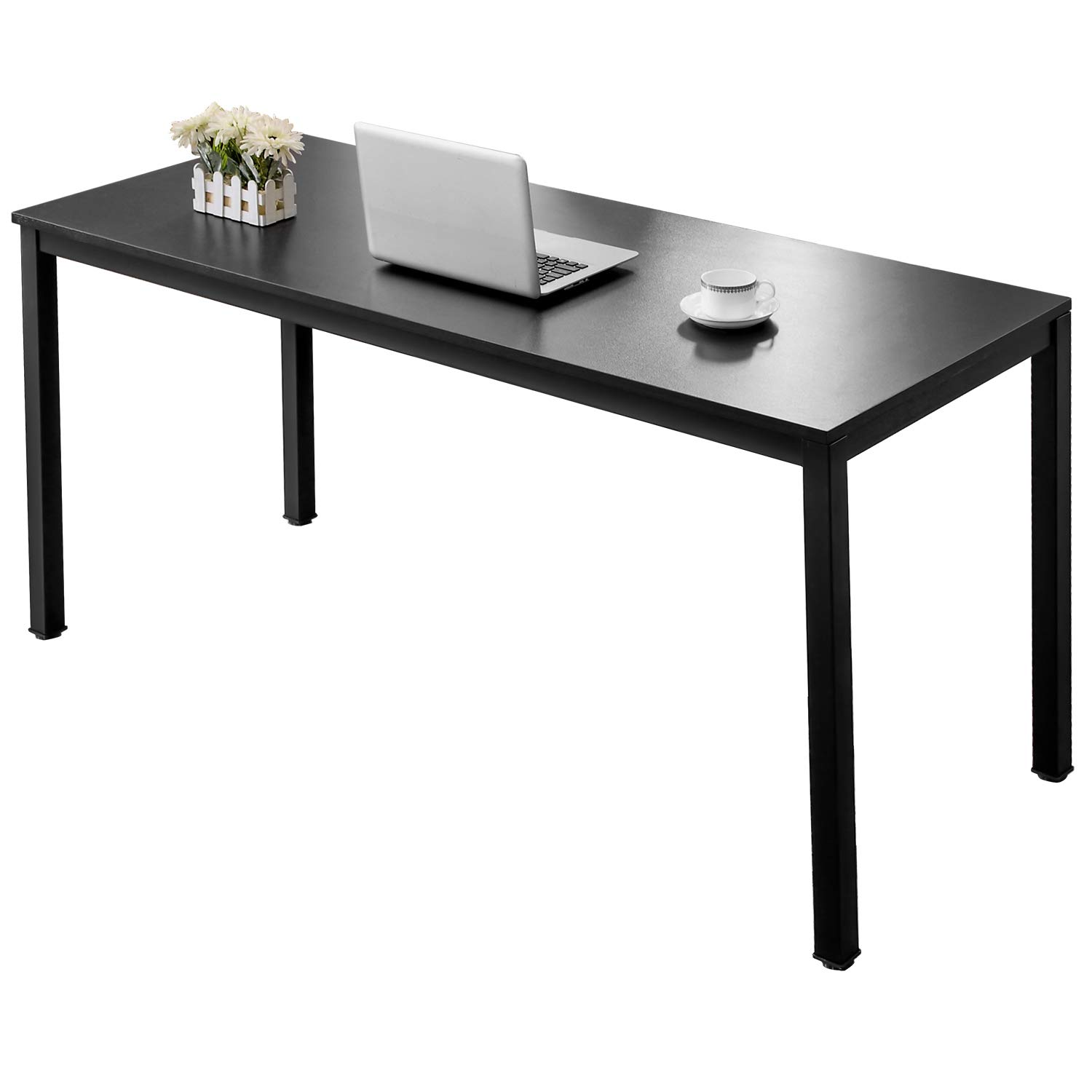 AUXLEY Computer Desk Modern Simple Office Writing Desk for Home Office, Double Deck Wood and Metal Office Table (60'', Black)