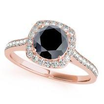 1.35 Ct. Ttw Halo Unique Design Black Diamond Engagement Wedding Ring In 14k Solid Rose Gold