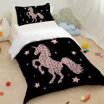 Sleepwish Duvet Cover Pink Unicorn Silhouette Pattern Stylish Leopard Dots Print Bedding Twin Size 3 Pieces Cute Horse Bed Set with 2 Pillow Shams for Kids Teens Girls
