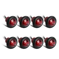 Partsam 8x 3/4 Inch Mount Red Clearance LED Bullet Light Lamp Truck Trailer Round Side Marker w/Plug